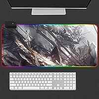 マウスパッド 大型マウスパッドアニメエバンジェリオンゲーマーLEDバックライトXXL RGBゲーミングキーボードデスクマットラップトップPC用900x400x4mm