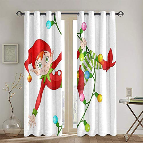 LanQiao Illustration of Cute Christmas elf Swinging on a Garland Grommet Bedroom partition Curtain W55 x L63 Suitable forFade Resistant Polyester Microfiber