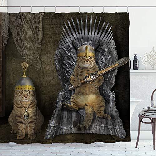 Duschvorhang mit lustigem Katzen-Motiv, Tiere, auf Eisen-Thrones, Themenparty-Stoff, Badezimmer-Dekor-Set mit Haken, 178 cm lang, Grau