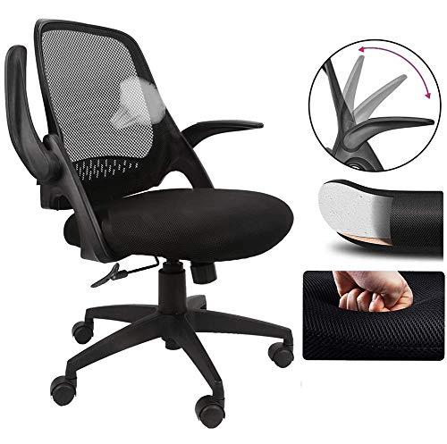 Komene Bürostuhl Ergonomischer mit klappbaren Armlehnen Rollen Schreibtischstuhl Arbeitsstuhl höhenverstellbar Drehstuhl Stoff verdickte Sitzskiss Schwarz