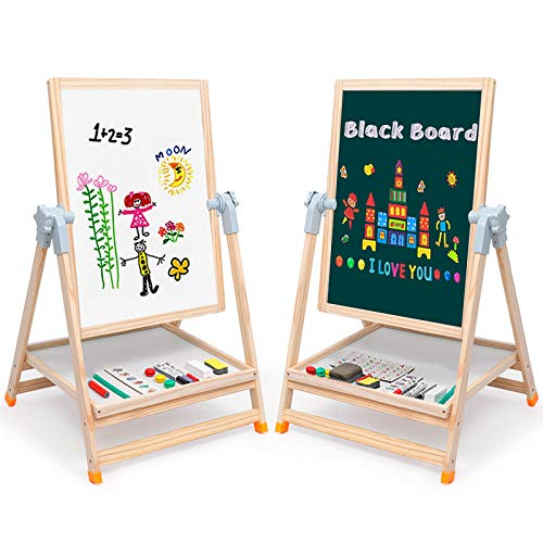 """Arkmiido Easel for Kids Portable Wooden Art Easel 19""""x 25"""" Double-Sided Magnetic Black/White Board Height Adjustabl Easel Desk with Multiple Accessories Birthday Gift for Kids,Toddlers"""