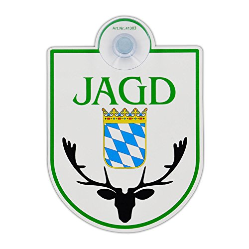 """Saugnapfschild Schild """"Jagd - Bayern"""" Acrylschild 3mm mit Saugnapf 30mm, ca. 90x125 mm für Scheibeninnenbefestigung"""