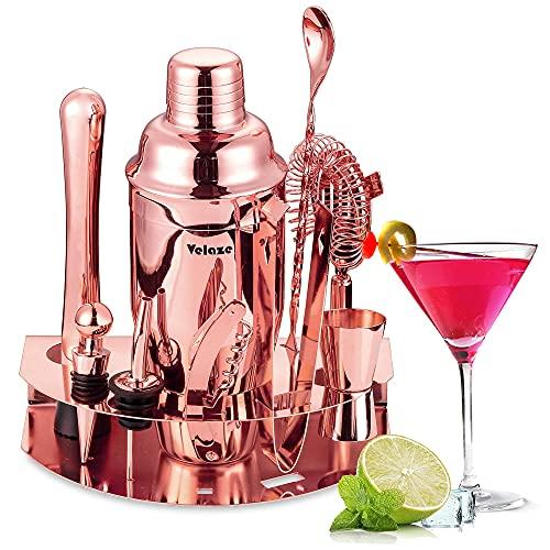 Velaze Set Shaker Cocktail, Cocktail Shaker Set Professionale in Acciaio Inox SUS304, Set di Accessori da Cocktails di 10 Pezzi per Martini, Gin Tonic, Barra e Festa - Oro Rosa (850 ml)