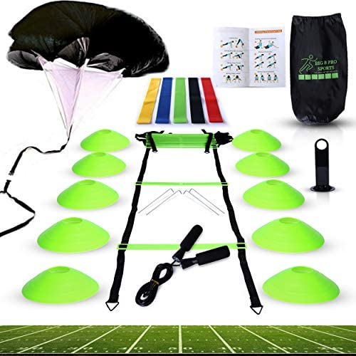 Big B Pro Sports Speed Agility Training Set Includes Ladder 10 Cones with Holder Running Parachute product image