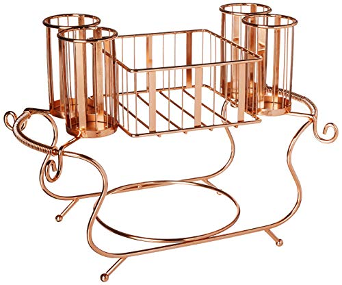 Inspired Living by Mesa Utensil Caddy, Silverware Buffet Organizer: Delaware Collection in Rose Gold