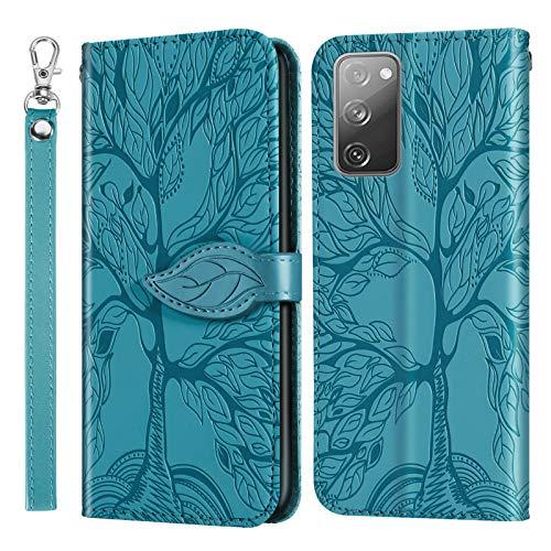 Hülle für Samsung Galaxy S20 FE/Lite 5G Hülle Handyhülle [Standfunktion] [Kartenfach] [Magnetverschluss] Tasche Etui Schutzhülle lederhülle klapphülle für Galaxy S20 FE - JERX010249 Blau