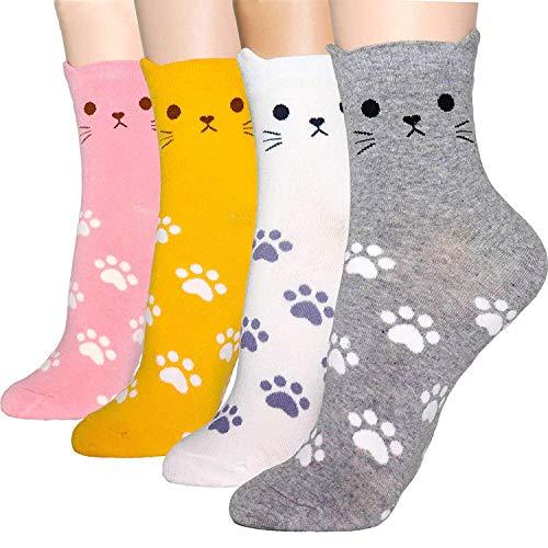 Okie Okie - Calzini da donna, con personaggi di cartoni animati, cani e gatti, idea regalo per Natale Animal – impronte di zampe di gatto, 4 pezzi Etichettalia unica