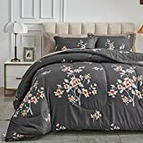 7 Pieces Full/Queen Size Bed in a Bag for All Season, Dark Gray Floral Style, Soft Microfiber Reversible Bed Comforter Set (1 Comforter, 2 Pillow Shams, 1 Flat Sheet, 1 Fitted Sheet, 2 Pillowcases)