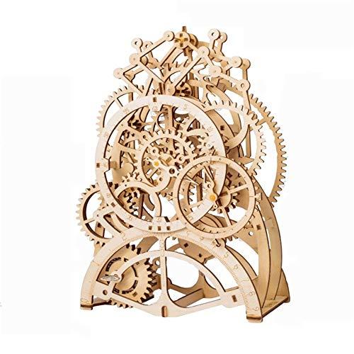 3D-Puzzle 3D Selbstorganisation Holz Pendeluhr Mechanical Gears Bausätze Puzzle Gebäudemodell GIF Beige Model Kits Montage 3D Puzzle (Color : Beige, Size : 170 pcs)