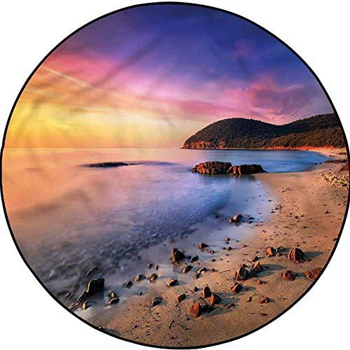 Beach Country Cottage Round Rug Yoga Decor Floor Cushion Beach Pebbles Sunrise Diameter 63.3 in(161cm)
