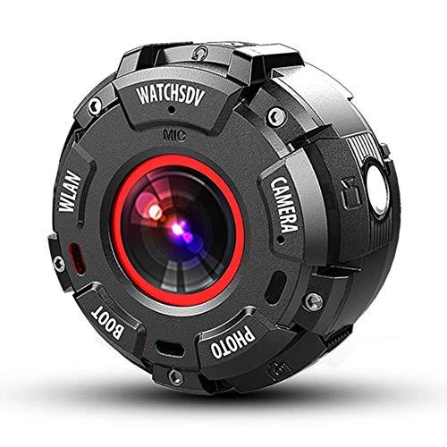 HUATXING 4K WiFi Action-Kamera, Einstellbarer Blickwinkel 30M Wasserdichte Kamera-Fernbedienung Sportkamera mit Helmzubehör-Kit und Filtern