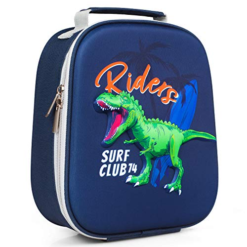 Kids Boys Toddlers Lunch Box, Cooler Insulated Lunch Bag Dinosaur 3D Molded, ZIPOUTE Thermal Lunch Tote for Preschool, Kindergarten, Bento Box Pack, Blue