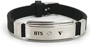 Fanstown BTS Kpop Stainless Steel Silicon Wristband Adjustable with lomo