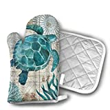 Sea Blue Marine Turtle Oven Mitts and Potholders (2-Piece Sets) - Kitchen Set with Cotton Heat Resistant,Oven Gloves for BBQ Cooking Baking Grilling