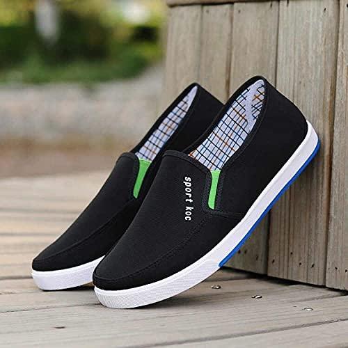 Fnho Calzado para Correr por Carretera,Zapatos de Gimnasia Zapatos Ligeros,Zapatos Casuales de Hombre con Fondo Acanalado, Zapatos de Lona-Negro_43