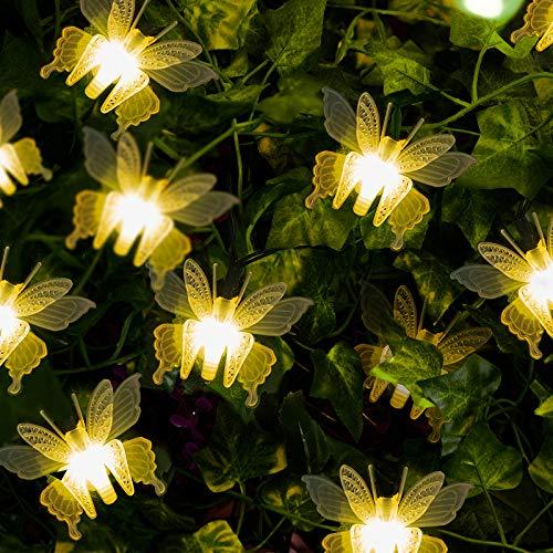 GloBrite 10 LED Butterfly Solar String Lights Outdoor Decorative Garden Waterproof Light - Warm White LED