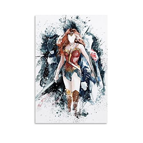 STTYE Wonder Woman - Pintura de inyección de tinta moderna minimalista para niños, decoración del hogar, 60 x 90 cm