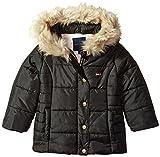 Tommy Hilfiger Girls' Toddler Peacoat Puffer Jacket, Black, 2T