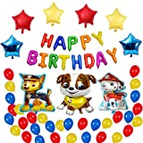 Boys Girls Paw Dog Patrol Happy Birthday Balloons Decorations, Puppy Themed Birthday Party Favors Supplies for Kids