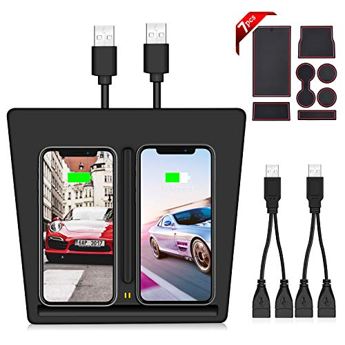 VXDAS Chargeur sans fil pour Tesla modèle 3, chargeur double port USB, chargeur double mobile pour tous les téléphones Qi