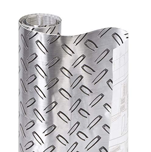 Smart Design Shelf Liner Metallic Adhesive - (18 Inch x 6 Feet) - Drawer Cabinet Paper - Kitchen [Diamond Thread Plate]