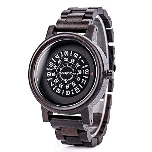 yuyan Sandalwood Reloj Pareja Modelo Digital dial rotativo Reloj Retro Reloj de Madera Masculino Deportes Negocio japonés Cuarzo Movimiento Lujo Regalo cumpleaños día de San Valentín