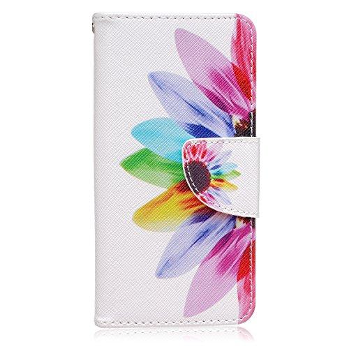 ISAKEN Compatibile con LG G5 Custodia Flip Cover in Pelle PU Protettiva Portafoglio Wallet Case Cover con Funzione Supporto Carte Slot Chiusura - Sunflower