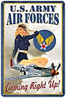 RCY-T Air Force Pinup Pin-Up Girl ブリキサインs Vintage Style メタルサインs As Wall Decor, Decorative Retro Coffee Bar Sign, 8 x 12 inches