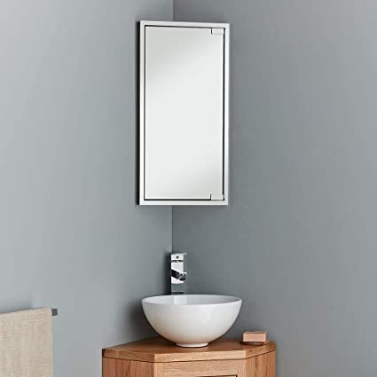 Clickbasin Corner Mirror Bathroom Cabinet Wall Hung With Right Or Left Door Opening Two Shelves Plenty Of Storage 600mm X 300mm Bilbao Amazon Co Uk Home Kitchen