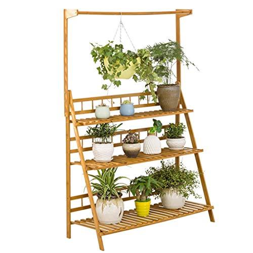 YINUO Étagère à fleurs Balcon en bois massif Salon Étagère à plusieurs viandes Étagère à fleurs à plusieurs couches Bambou Bambou Fer forgé (Size : 70x38x149cm)