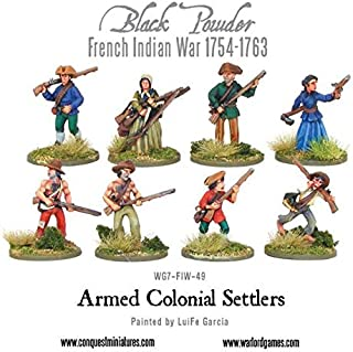 Warlord Games, Black Powder, French Indian War, Armed Colonial Settlers, Wargaming Miniatures
