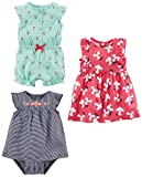 Simple Joys by Carter's Baby Girls' 3-Pack Romper, Sunsuit and Dress, Mint Cherries/Navy Stripe/Pink Floral, 3-6 Months