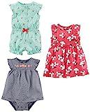 Simple Joys by Carter's Lot de 3 barboteuse, combinaison et robe pour bébé fille ,Mint Cherries/Navy Stripe/Pink Floral,18 Months