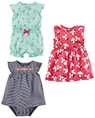 Romper has flutter sleeves, cinced waist and hem with snap up bottom Sun suit has flutter sleeves, snap up back and bottom for easy changes Dress has snap up back and un attached matching diaper cover Trusted Carter's quality, everyday low prices, an...