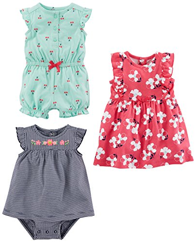 Simple Joys by Carter's Baby Girls' 3-Pack Romper, Sunsuit and Dress, Mint Cherries/Navy Stripe/Pink Floral, 0-3 Months