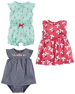 Simple Joys by Carter's Baby Girls paquete de 3 pelele, traje de sol y vestido ,Mint Cherries/Navy Stripe/Pink Floral ,US NB (EU 56-62)