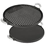 BBQ-Toro Gusseisen Grillplatte mit Griffen (Ø 43 cm) | Wendegrillplatte - emailliert | Gasgrill Zubehör für Kugelgrill | Emaille Steakplatte