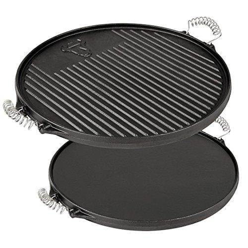 BBQ-TORO Plaque à grillades ronde réversible - En fonte - Diamètre de 43 cm - Déjà culottée - Prête à l'emploi- pour cheminée barbecue