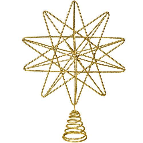 YQing 13.4 Pollici Puntale Albero Natale Glitterato Stella Albero di Natale, Oro Stella per Albero di Natale per Albero di Natale Decorazione per la Casa