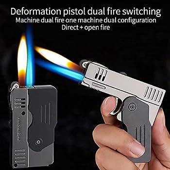 Briquet de lampe de poche plus légère en forme de pistolet en forme de pistolet à coupe-vent,briquet à feu en métal,flamme bleue double interrupteur de feu,utilisé for Cadeau Cougel Camping Barbecue C