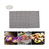 SayHia BBQ Grill Mesh Mat Set of 10 - Non Stick Barbecue Grill Sheet Liners Teflon Grilling Mats Nonstick Fish Vegetable Smoking Accessories - Works on Smoker,Pellet,Gas, Charcoal...
