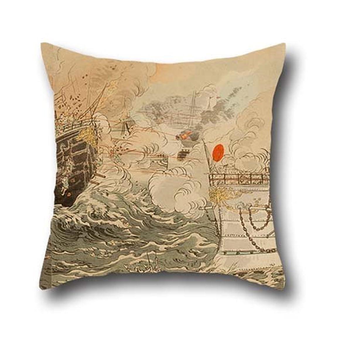 尊厳期待下位16 X 16 Inches / 40 By 40 Cm Oil Painting Ogata Gekko - Sino-Japanese War- The Japanese Navy Victorious Off Takushan Pillowcover,double Sides Is Fit For Family,birthday,father,couples,kitchen,lounge