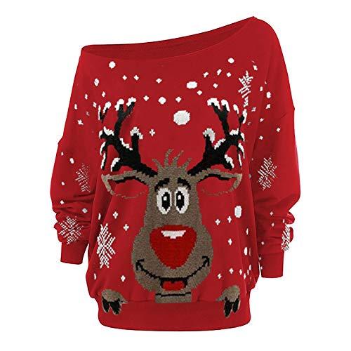 VEMOW Pullover Weihnachts Sweatshirt Damen Off Shoulder Langarm Oberteile Jumper...