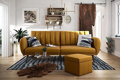 Best Novogratz Brittany Sofa Futon, Premium Linen Upholstery and Wooden Legs, Mustard Linen