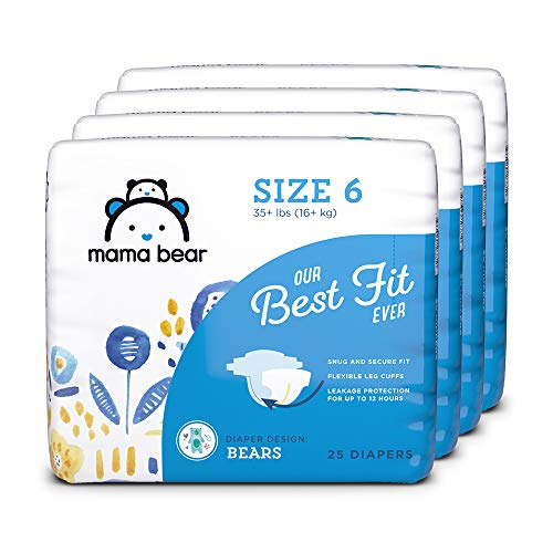 Amazon Brand - Mama Bear Best Fit Diapers Size 6, 100 Count, Bears Print (4 packs of 25) [Packaging...