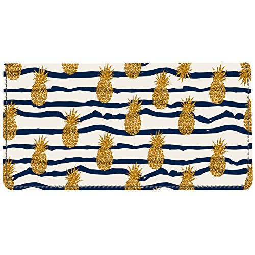 Snaptotes Trendy Navy Pineapple Print Summer Be a Pineapple Checkbook Cover