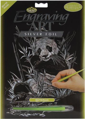 Royal & Langnickel SILF12 - Engraving Art/Kratzbilder, DIN A4, Pandabär, silber