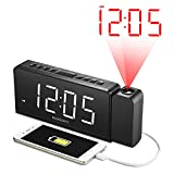 Projection Alarm Clock with AM/FM Radio, 180°Projector, 7' LED Digital Ceiling Display, Easy to Use, Clear White Digit, 3 Dimmer, Digital Alarm Clock with USB Phone Charger, Battery Backup for Bedroom