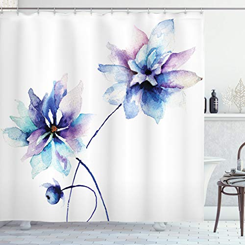 """Ambesonne Watercolor Flower Shower Curtain, Flower Drawing with Soft Spring Colors Retro Style Floral Artwork, Cloth Fabric Bathroom Decor Set with Hooks, 75"""" Long, White Purple"""