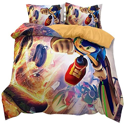 THAVASAM Sonic Duvet Cover Set, 3D Sonic Anime Digital Print, Breathable, Comfortable For All Seasons, The Hedgehog Children's Duvet Cover Set, Polyester Bevel (06.220 x 240 cm)